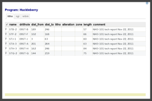 Screenshot of sample table